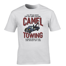 Vintage Tee Shirts Camel Towing Vintage Mechanic Tow Truck Recovery Heavy Load Printed T Shirt Cool Tops High Quality Casual Tee(China)