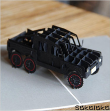 10pcs creative exquisite handmade car model 3D greeting card lovely birthday gift for boy