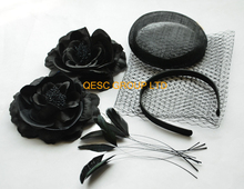 NEW Black sinamay base veiling silk flower satin headband feathers for  fascinator hat.