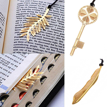 Gold Plated Hollow Feather Snowflake Key Leaf Bookmark Book Magazine Accessory AIYQ