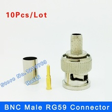 10PCS BNC male  plug for RG59 coaxial cable BNC Connector Adapter  female 3-piece crimp connector RG59 Coupler for CCTV Camera