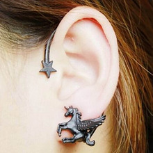 1 Pcs Fashion Design Personality Punk Rock Stereoscopic Running Horse Unicorn Star Lady Stud Earring For Left Ear(China)