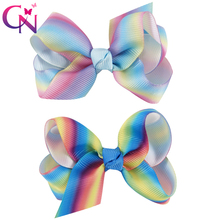 "20 Pieces/lot 3"" Rainbow Hair Bows With Alligator Clips For Kids Girls Small Handmade Ribbon Bows Hairpins Hair Accessories(China)"