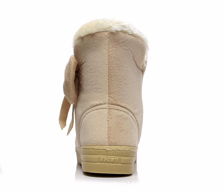 Women Snow Boots 2016 Warm Solid Plus Velvet  Flat Women Boots Winter Bowtie Casual Shoes Round Toe Wild Ladies Shoes SNF905 (12)