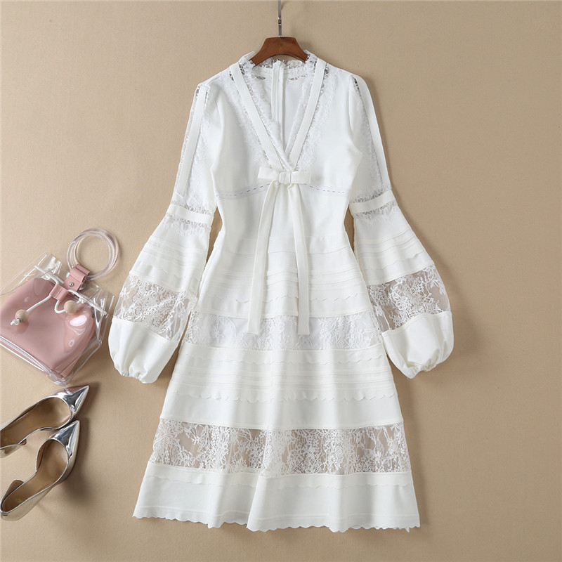 Fashion Designer Runway Dress 2019 Spring Elegant Women's Lantern Long Sleeve V Neck Long Patchwork Casual Dress White Black