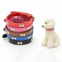 Adjustable Bone dog Collar Leather Pet Dog cat Pu Collar for Medium Small Dog Collar Lead Pet Products neck strap personalized