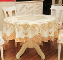 Luxury Round gold PVC plastic waterproof tea Table cloth cover Oilcloth dining tablecloth mantel Table for Garden wedding decor