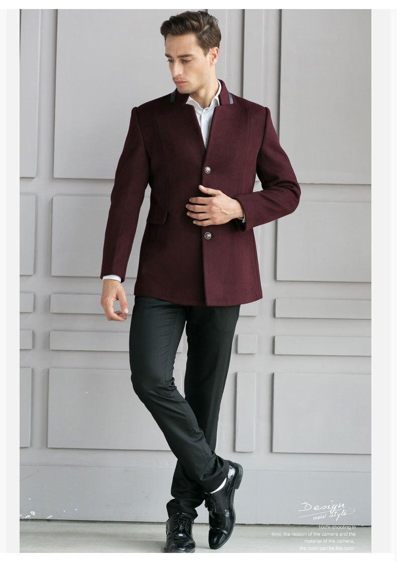 2017 high quality autumn winter Men wool Jacket men's warm woolen thick blends overcoat solid jacket men cashmere overcoat