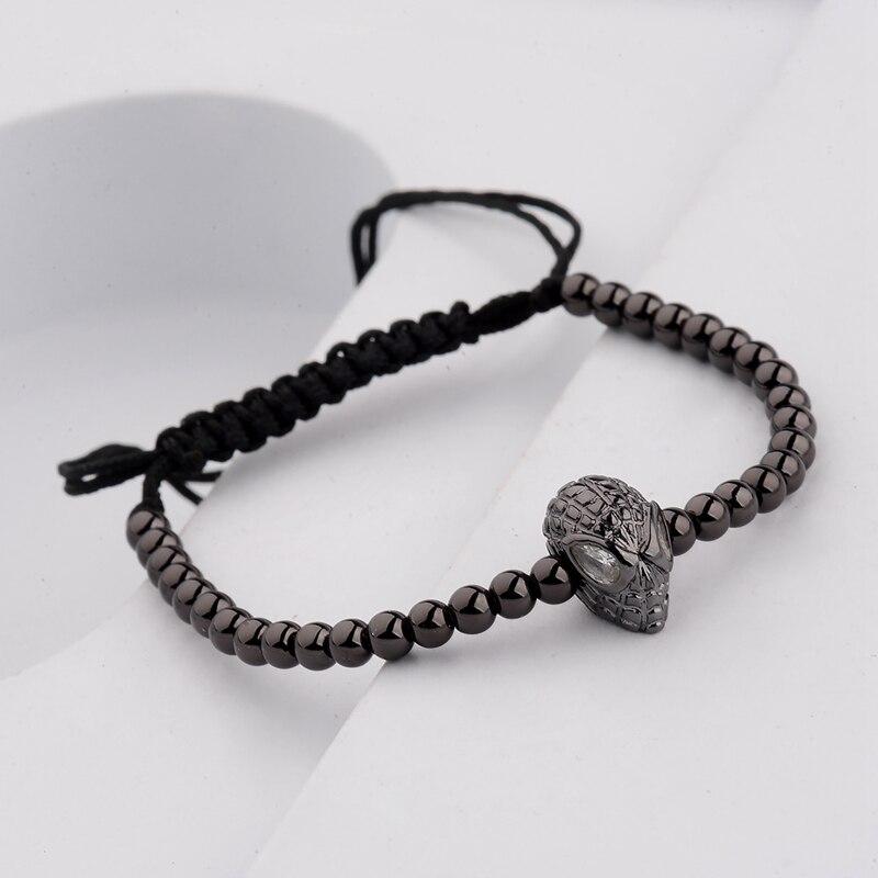 DOUVEI 17 New Black Diy Design Pave CZ Ball Charm Bracelet Men Women Braided Macrame Copper Beads Jewelry Gift For Men Women 7