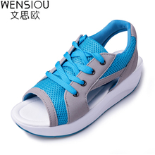 New Summer Women's Shoes Wedges Sandals Breathable Fashion Woman Casual Shoes Lady Tennis Open Toe Platform Sandalias BT577(China)