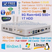 8GB Ram 64GB SSD 1TB HDD Compact PC Home Computer Intel Celeron 1037U TV Box Fanless HTPC Support XBMC Kodi DHL Free Shipping