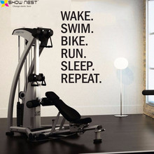 Triathlon Motivational Wall Decal - Wake. Swim. Bike.. Quotes Wall Sticker Gym Wall Art Decor Fitness Motivation Mural Wallpaper(China)