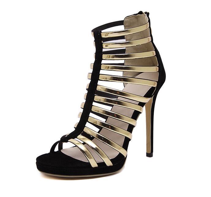 Gold Gladiator Sandals Women High Heels Fashion summer boots wedding sandals Rome Boots Summer Shoes Thin Heel Pumps 13CM<br>