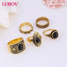 5Pcs/set Vintage Metal Ring Antique Gold Silver Black Natural Stone Ring Midi Finger Thumb Rings Set for Women Christmas Gift
