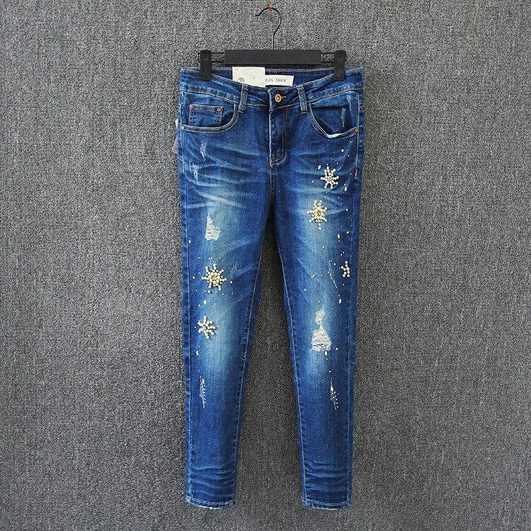 2017 New Rhinestone Beading Jeans Woman Ripped Hole Jeans Pants Women Denim Pencil Pants Female Trousers Plus Size 30-40 K17-69FÎäåæäà è àêñåññóàðû<br><br>