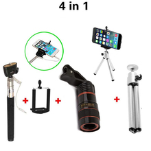 4in1 8X Telephoto Mobile Phone Telescope Lens Fisheye Wide Angle Macro lenses fish eye Flexible Tripod For iphone Samsung Asus