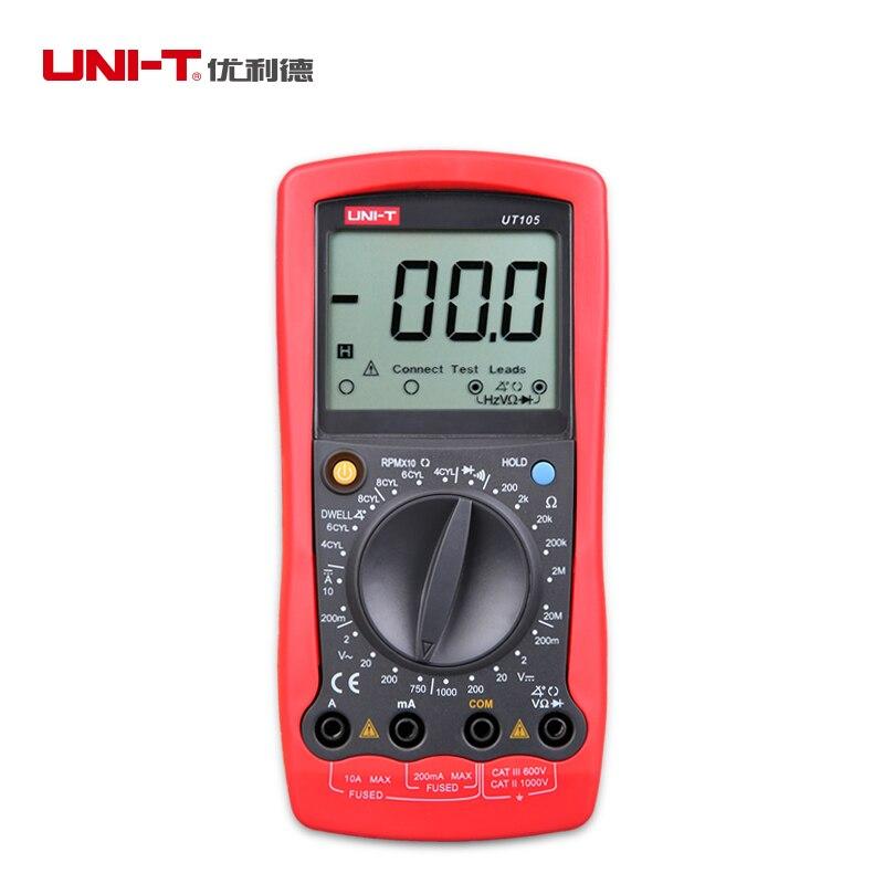 UNI-T UT105 Digital Multimeters Handheld Automotive Multi-Purpose Meters DC Ammeter AC &amp; DC Voltmeter Resistance  + Test Lead <br><br>Aliexpress