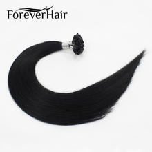 "FOREVER HAIR 0.8g/s 16"" 18"" 20"" Remy U TIP Human Hair Extension Jet Black #1 European Keratin Nail Tip Pre Bonded Hair Extension(China)"