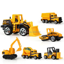6 Styles mini Diecast Alloy Construction Vehicle Engineering Car Dump-car Dump Truck Model toys cars for children boy gift(China)