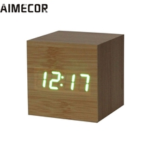 AIMECOR Top Grand Wood LED Alarm Digital Desk Clock Wooden Thermometer USB/AAA Thermometer Date Display Vioce Touch Activated