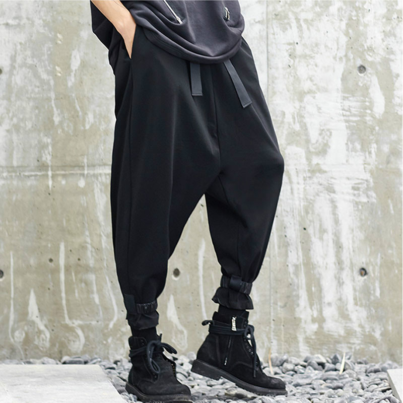 Male Hip Hop Streetwear Punk Style Cross Trousers Harem Pant Men New Japan Style Loose Casual Wide Leg Pant