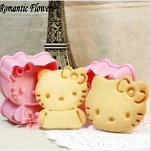 hello kitty cookie mold Fondant Cake Cookie Decorating tools 2pcs/set Plastic pink baking pastry tools