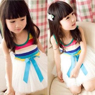 2015 summer style new children dress veil girls rainbow striped dress baby girls dress girl clothes free shipping<br><br>Aliexpress