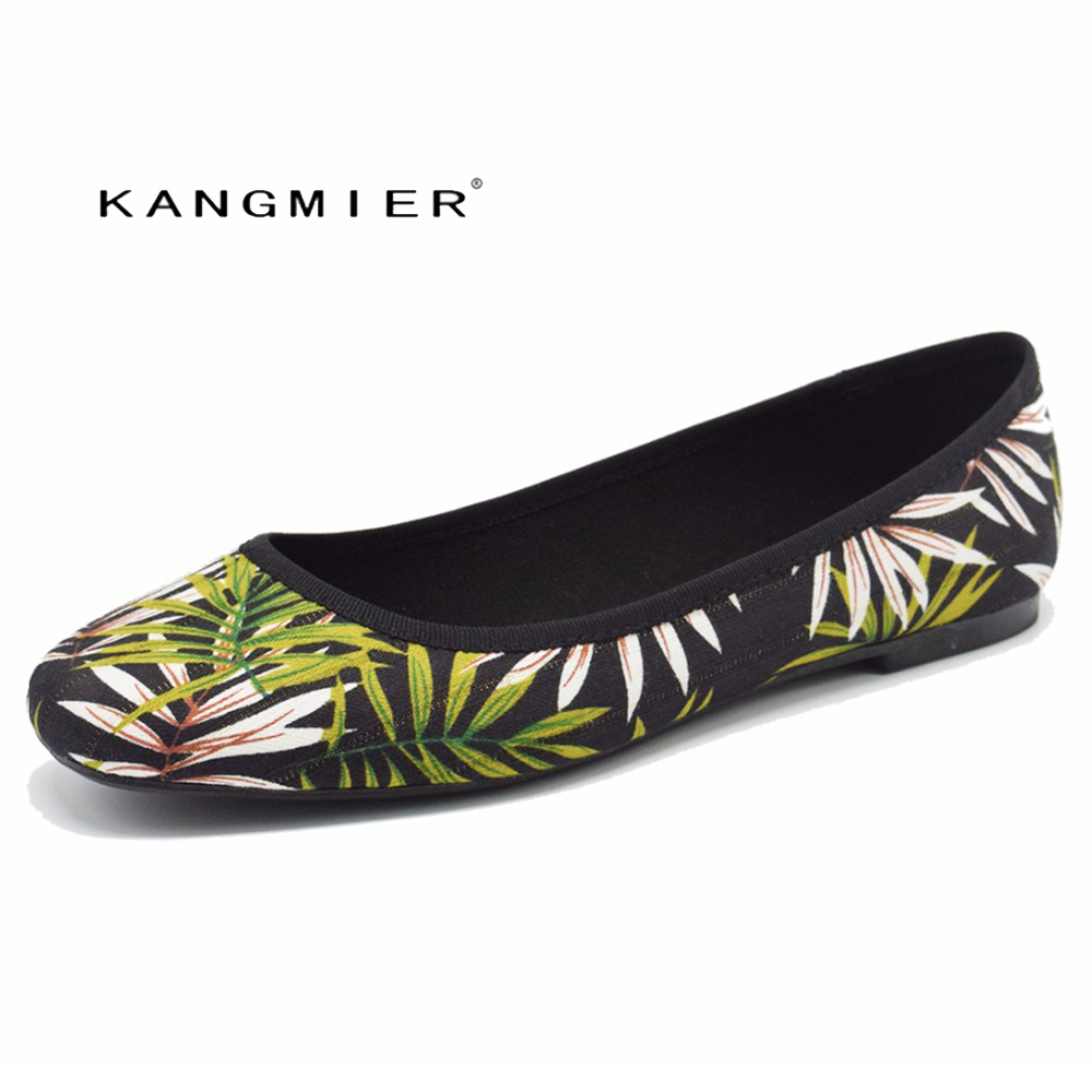 shoes women flats printed Canvas Fabrics ballet ballerina flats shoes spring autumn KANGMIER green flowers petal leaves<br>