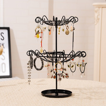 Juelee Rotating Jewelry Display Stand Necklace Bracelet Earrings Double Layer Hanger Holder Organizer Rack(China)