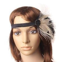 Wedding Bridal Lady Flapper Headband Feather Crystal 1930's 1920's Hairband