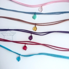 Handmade Leaf Czech Glass Charm Suede Fabric & Stainless Steel Jewelry Choker Necklaces