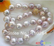 "free shipping $wholesale_jewelry_wig$  lustre 17"" 13mm lavender almost round keshi reborn PEARL NECKLACE"
