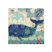 Cotton Linen Cushion Cover Marine Ocean Sea conch seahorse, whale Octopus Home Decor Pillowcase Sofa Cushion Case 45*45cm(China)
