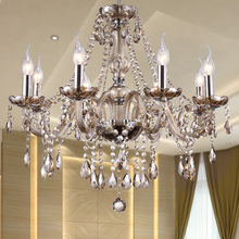 Modern Crystal Chandelier Lighting Luxury Cognac Glass Chandeliers Lamp Hanging Light Lustres De Cristal Lamp Hotel Lighting(China)