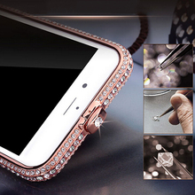 Luxury Bling Glitter metal diamond case for iPhone 7 7 Plus rhinestone shining crown style bumper case frame for iPhone7 Cover(China)