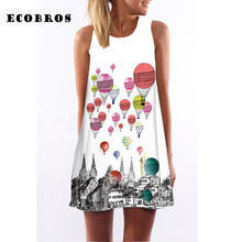 Buy ECOBROS 2017 New Casual Woman Summer Dress sleeveless Loose balloons print mini dresses plus size woman clothing dress for $7.99 in AliExpress store