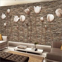 Modern Custom Any Size Mural 3D Embossed Vintage Brick&Tulip Combinatio Wallpaper,Art  Bedroom Sofa Background Wall  Improvement