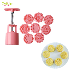 Delidge 9pcs/set 3D Moon Cake Molds Plastic Flower Heart Bear Pattern Handmade Pressure Cake Molds Fondant Cookie Molds Set