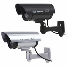 Realistic Looking Fake camera Indoor Outoodr Dummy Security Camera Bullet CCTV Camera Surveillance Camaras with Flash IR LED(China)