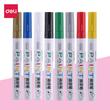 Deli 1 pcs Permanent Marker White Oil-Ink Mark Pens Stationery school & office supplies cd mark marker wood marker pen rock(China)