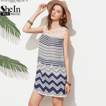 SheIn Boho Dresses Beach Women Striped Multicolor Sleeveless Print Lace Yoke Shift Loose Tank Boho Sexy Rayon Dress
