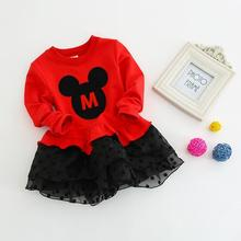 Kids Dresses For Girls Long Sleeves Girls Dress Cotton Chiffon Mouse Dress 2-8 Years Toddler Dress Costume(China)