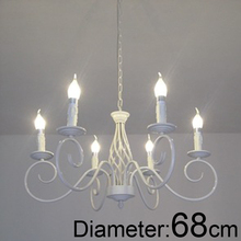 For foyer dinning room Modern vintage E14 6 arms classical Iron candle light white chandelier
