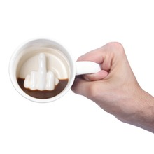 Creative Design White Middle Finger Style Novelty Mixing Coffee Milk Cup Funny Ceramic Mug Enough Capacity Water Cup