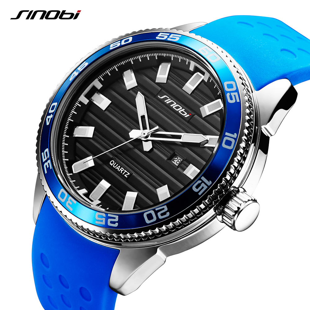 SINOBI 316 Stainless Steel Mens Sports Watches Luxury Brand Silicone Waterproof Men Military Watch Quartz Relogio Masculino<br>