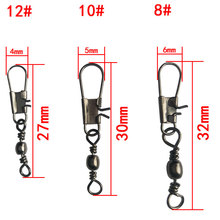 50pcs/lot Steel Interlock Snap Fishing Lure Tackle Ball Bearing Swivel Rolling Solid Rings Winter Fishing Accessories Connector