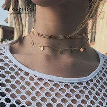 LWONG Hot Sale Dainty Gold Color Disc Coin Choker Beads Charms Choker Jewelry Simple Chain Chokers Necklaces for Women Gifts(China)