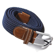 Male Female Belt Buckle Canvas Leather Belt Strap Waistband Elastic