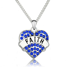 Faith Necklace Women For Best Friend DIY Rhinestone Heart Pendant Necklace Cheap Fashion Jewellery Dropshipping Christmas Gifts
