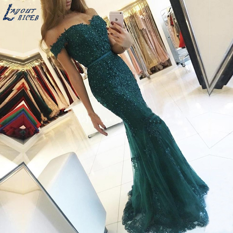 AE108 Off the Shoulder Long Dress Mermaid Evening Dress 2018 Lace Robe De Soiree longue Formal Dress abiye gece elbisesi(China)